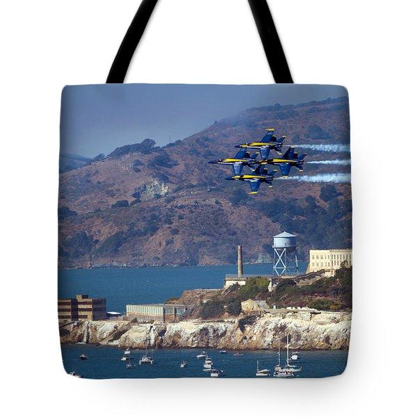 Blue Angels Over Alcatraz Tote Bag