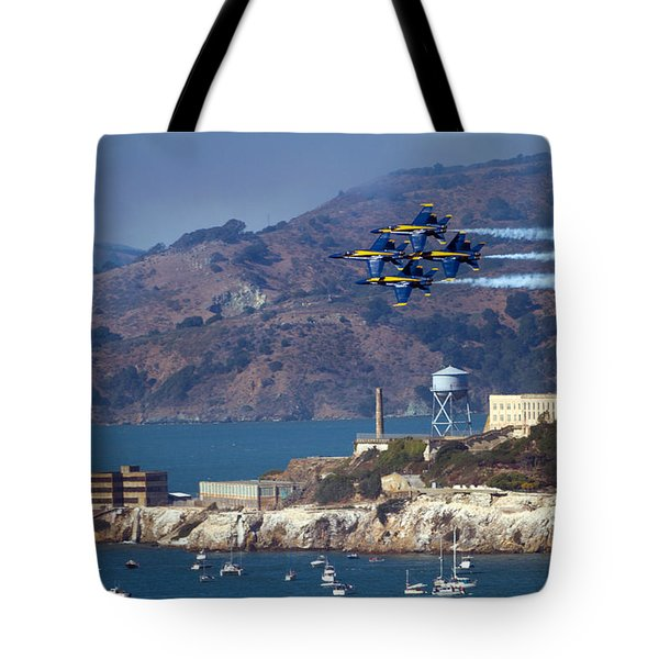 Blue Angels Over Alcatraz Tote Bag