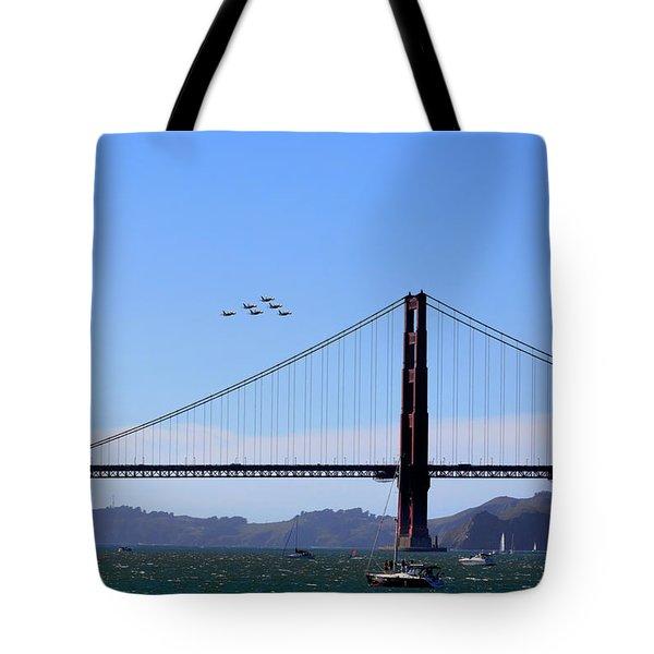 Blue Angels Over Golden Gate Bridge Tote Bag