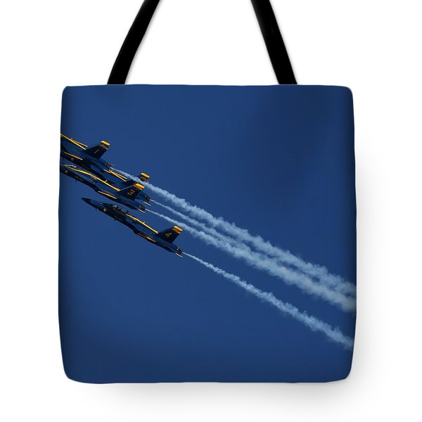 Tote Bag featuring the photograph Blue Angels Over San Francisco Bay by John King