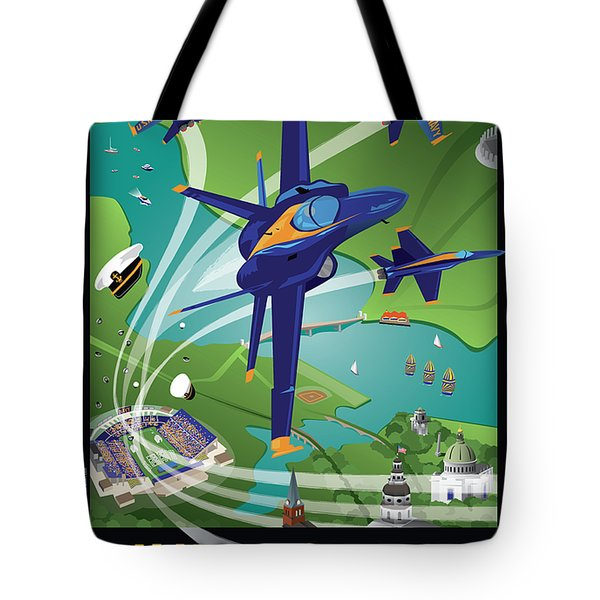 Blue Angels Over Usna Tote Bag