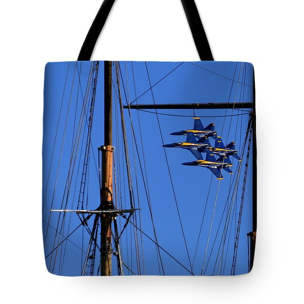 Tote Bag featuring the photograph Blue Angels Pass Behind Masts Of The Balclutha At Hyde Street Pier by John King
