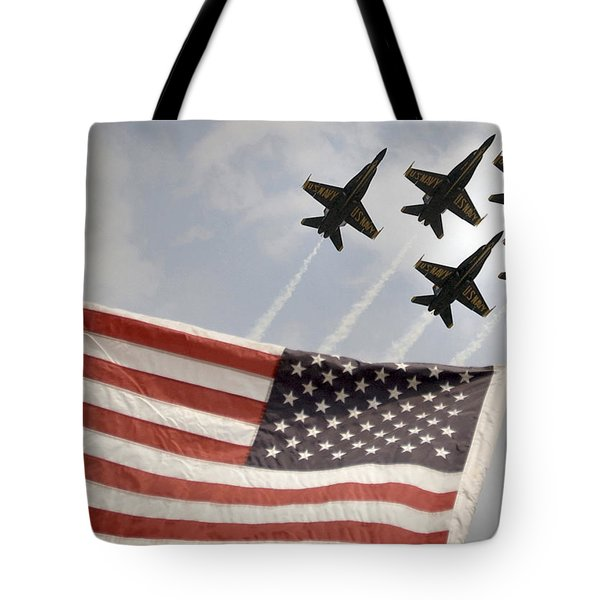 Tote Bag featuring the photograph Blue Angels Soars Over Old Glory As They Perform The Delta Formation by Celestial Images