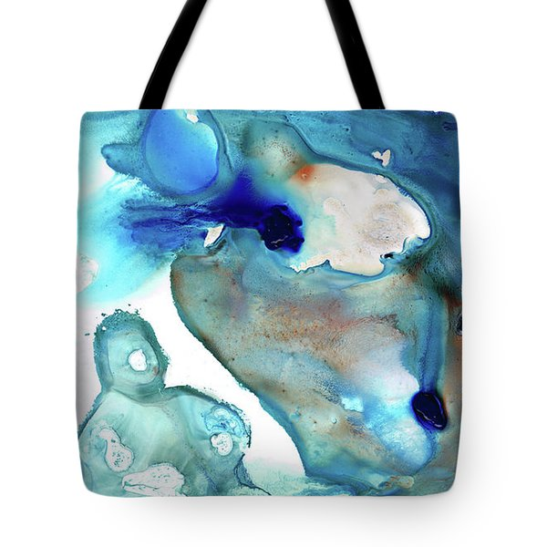 Tote Bag featuring the painting Blue Art - The Meaning Of Life - Sharon Cummings by Sharon Cummings