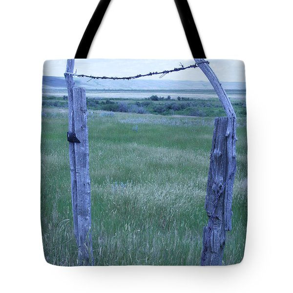 Blue Barbwire Tote Bag by Mary Mikawoz