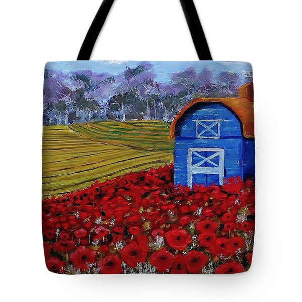 Blue Barn In Red Poppy Field Tote Bag by Mike Caitham
