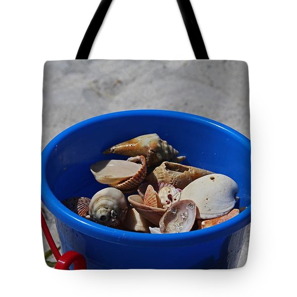 Tote Bag featuring the photograph Blue Beach Bucket by Michiale Schneider