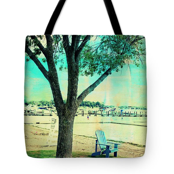 Tote Bag featuring the photograph Blue Beach Chair by Susan Stone