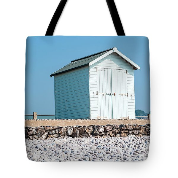 Blue Beach Hut Tote Bag