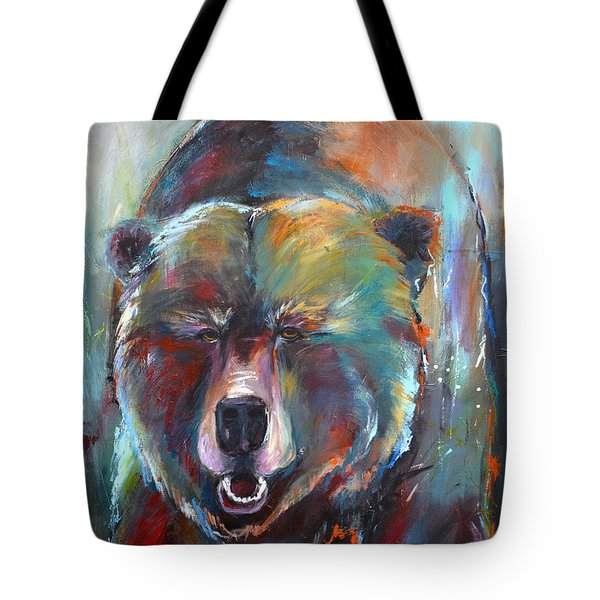Tote Bag featuring the painting Blue Bear by Cher Devereaux