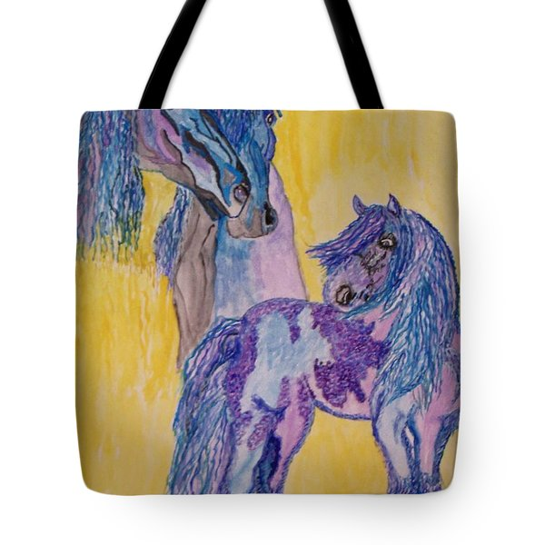 Tote Bag featuring the painting Blue Beauties by Connie Valasco