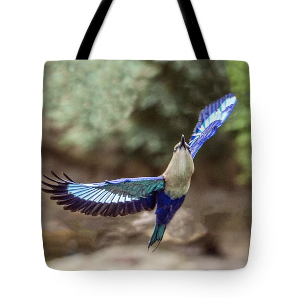 Blue-bellied Roller In Flight Tote Bag