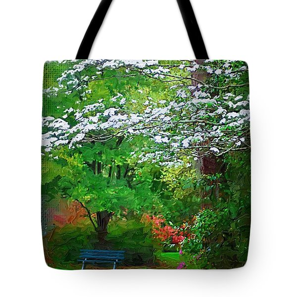 Tote Bag featuring the photograph Blue Bench In Park by Donna Bentley