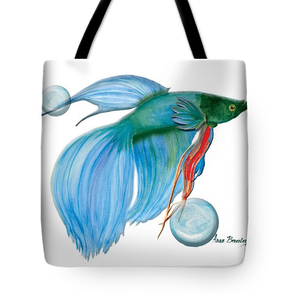 Tote Bag featuring the painting Blue Beta Fish by Anne Beverley-Stamps