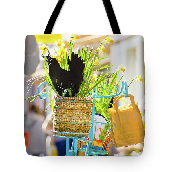 Blue Bicycle With A Basket Full Of Yellow Daffodils Tote Bag