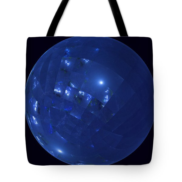 Blue Big Sphere With Squares Tote Bag