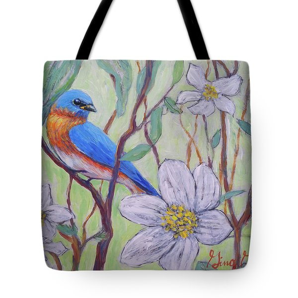 Blue Bird And Blossoms Tote Bag