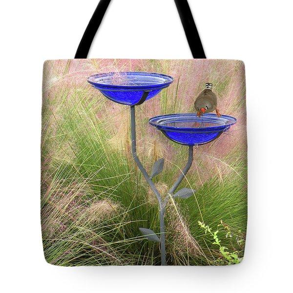 Blue Bird Bath Tote Bag by Rosalie Scanlon