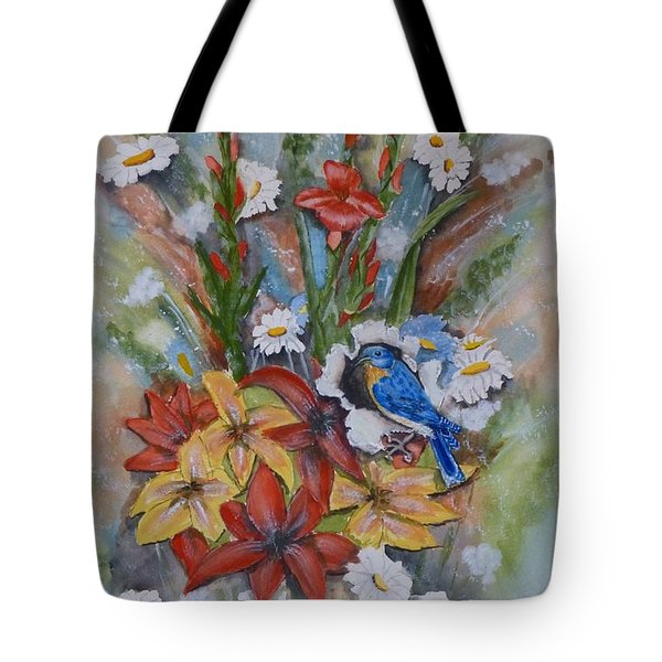 Blue Bird Eats Thru The Painting Tote Bag by Kelly Mills