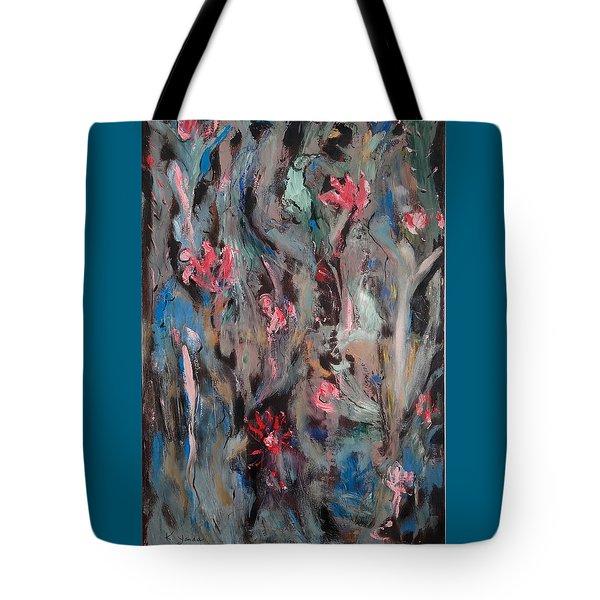 Blue Bird In Flower Garden Tote Bag