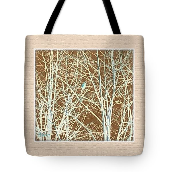 Tote Bag featuring the photograph Blue Bird In Winter Tree by Felipe Adan Lerma