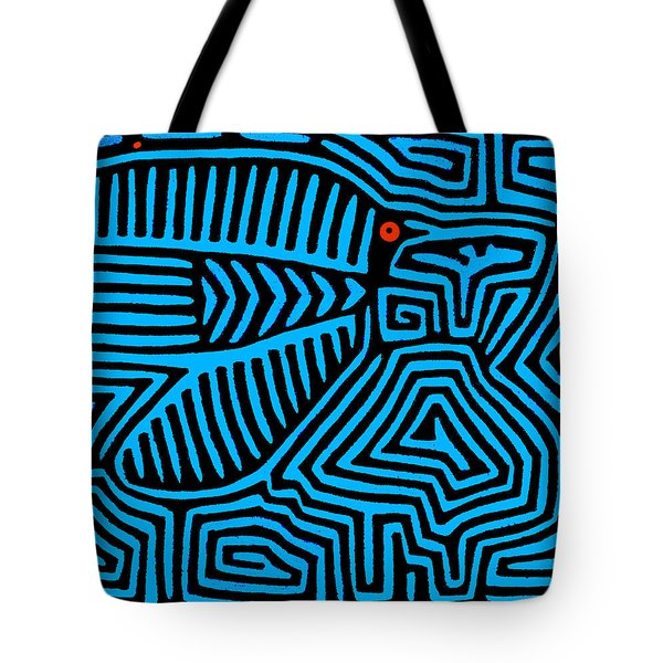 Tote Bag featuring the digital art Blue Bird Mola by Vagabond Folk Art - Virginia Vivier