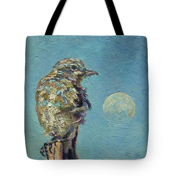 Blue Bird Moon Tote Bag
