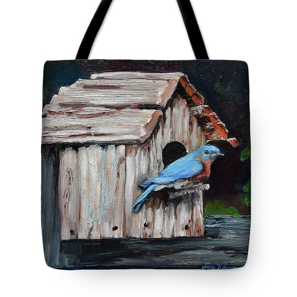 Tote Bag featuring the painting Blue Bird On Lake Odom by Jan Dappen