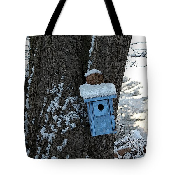 Blue Birdhouse Tote Bag
