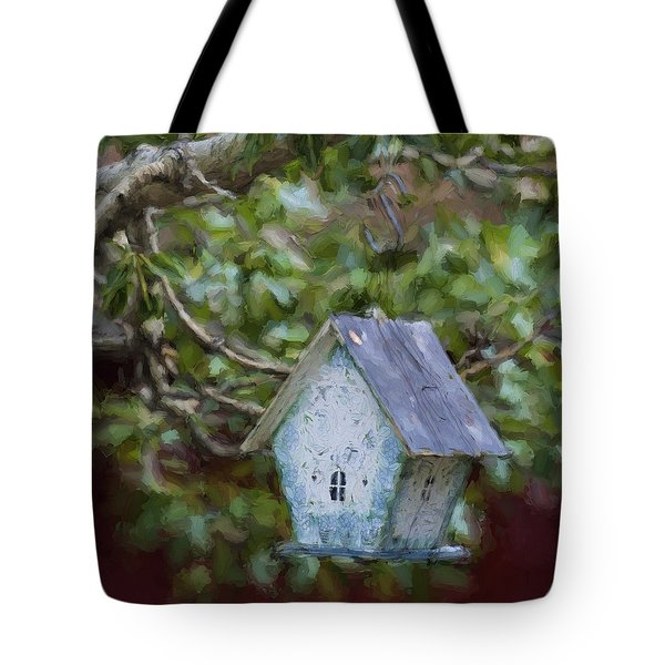 Blue Birdhouse Painterly Effect Tote Bag