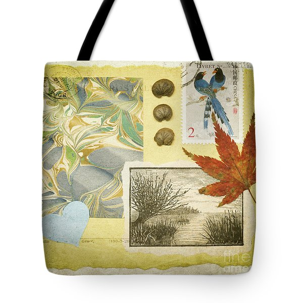 Tote Bag featuring the mixed media Blue Birds Collage by Jan Bickerton