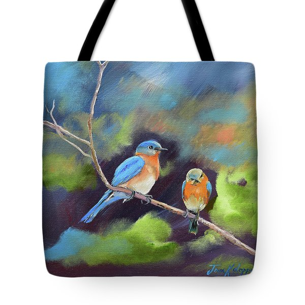Tote Bag featuring the painting Blue Birds - Soul Mates by Jan Dappen