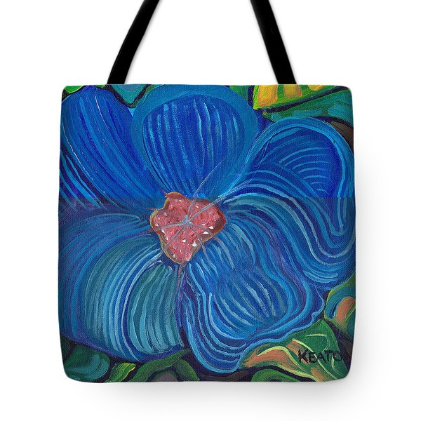 Tote Bag featuring the painting Blue Blilliance by John Keaton
