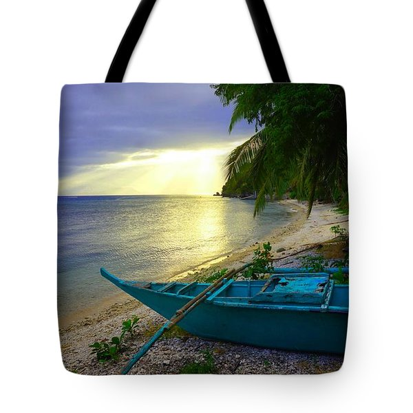 Blue Boat And Sunset On Beach Tote Bag