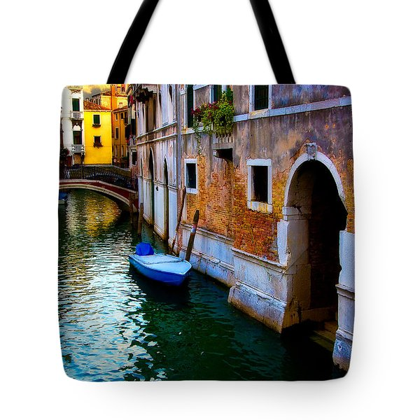 Blue Boat At Twilight Tote Bag