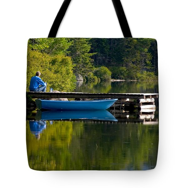 Blue Boat Tote Bag by Brent L Ander