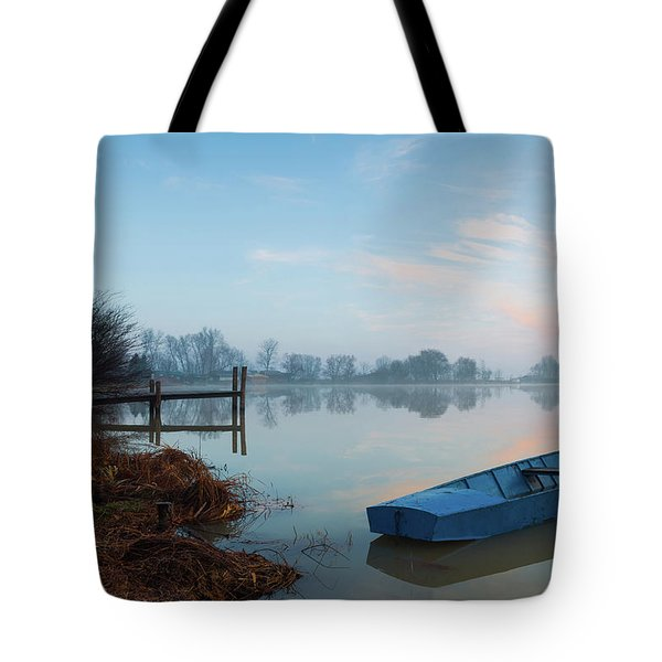 Tote Bag featuring the photograph Blue Boat by Davor Zerjav