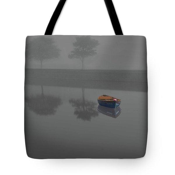 Blue Boat In Fog Tote Bag