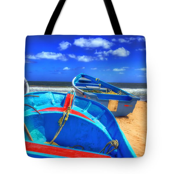 Blue Boats Tote Bag