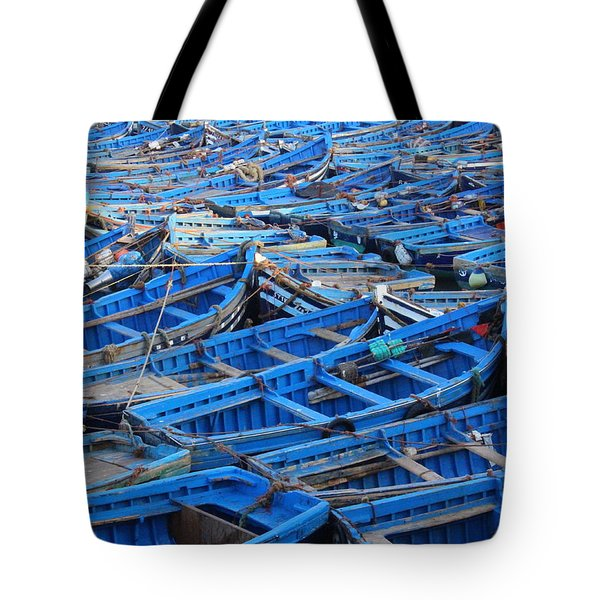 Tote Bag featuring the photograph Blue Boats Of Essaouira by Ramona Johnston