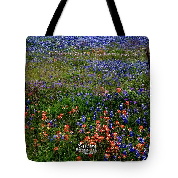 Tote Bag featuring the photograph Bluebonnets #0487 by Barbara Tristan