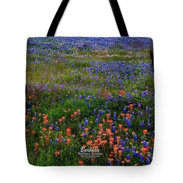 Bluebonnets #0487 Tote Bag by Barbara Tristan