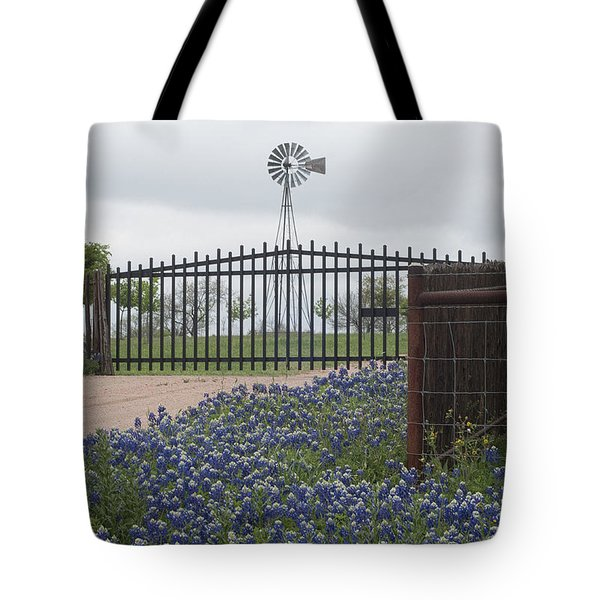 Blue Bonnets By Gate Tote Bag