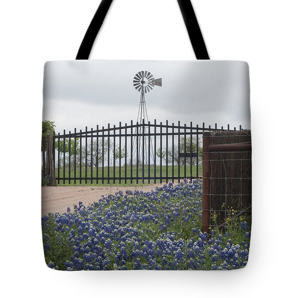 Blue Bonnets By Gate Tote Bag