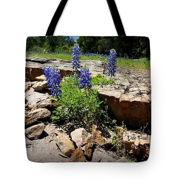 Blue Bonnets On The Rocks Tote Bag