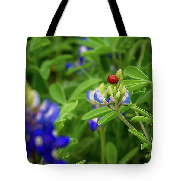 Texas Blue Bonnet And Ladybug Tote Bag