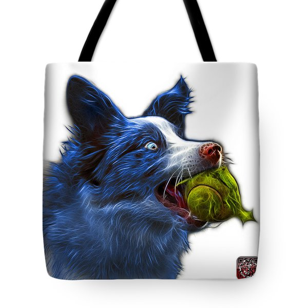 Tote Bag featuring the painting Blue Border Collie - Elska -  9847 - Wb by James Ahn