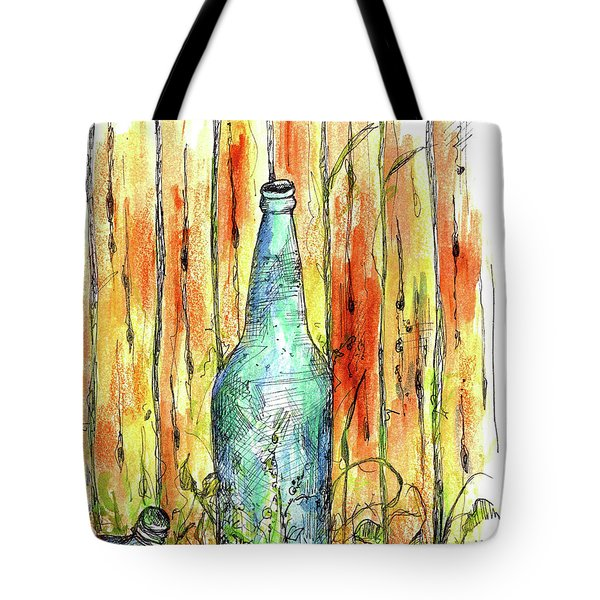 Tote Bag featuring the painting Blue Bottle by Cathie Richardson
