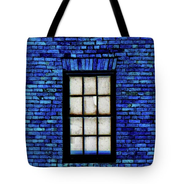 Tote Bag featuring the digital art Blue Brick by Robert Geary