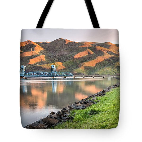 Blue Bridge From The Levee Tote Bag